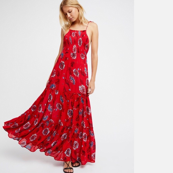 1db08f20af Brand new Free People Red Floral Printed Dress NWT